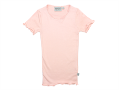 Wheat rib t-shirt soft rose spets
